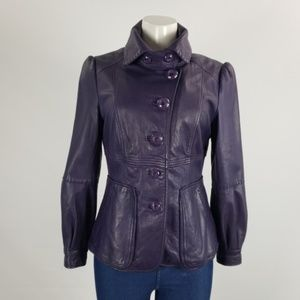 Mackage Purple Leather Button Front Jacket Size S